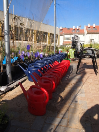 Watering cans for student use at Farm School