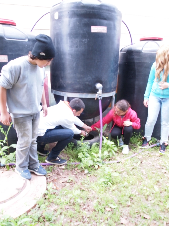 Students work together on rain barrel system