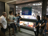 Group of students present poster project at cross-cultural exchange gathering at WATEC Conference. Coordinated by Dr. Amnon Shefi of Hi-Teach's Youth Water & Knowledge Program, main implementation partner for Hands Across Waters Program.
